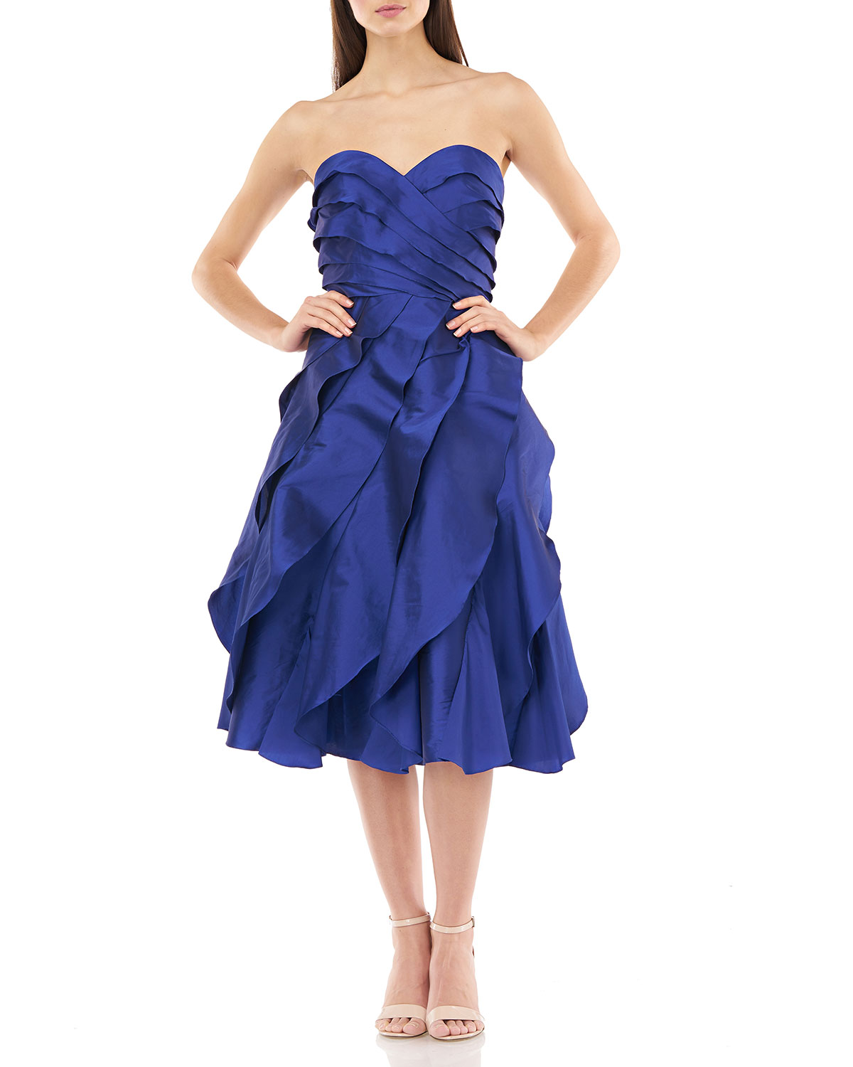 Carmen Marc Valvo Infusion Strapless Multi Tiered Taffeta Party Dress