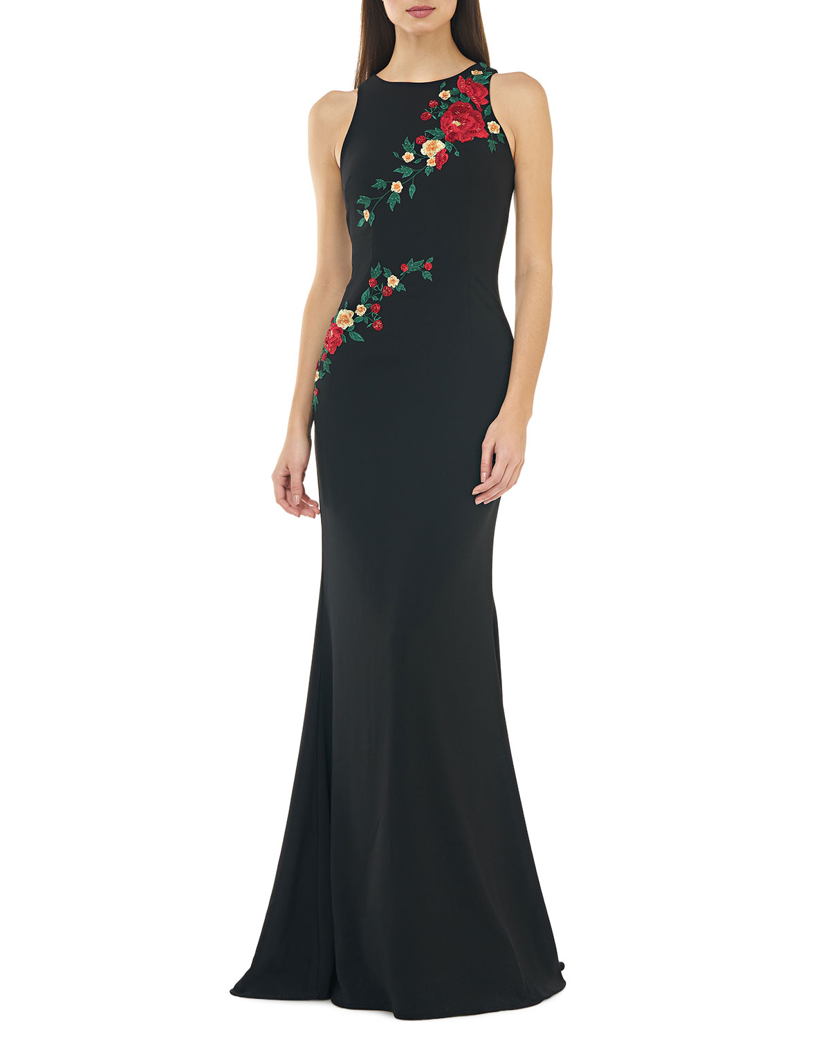 Carmen Marc Valvo Infusion Sleeveless Crepe Mermaid Gown w/ Multi Floral Embroidery