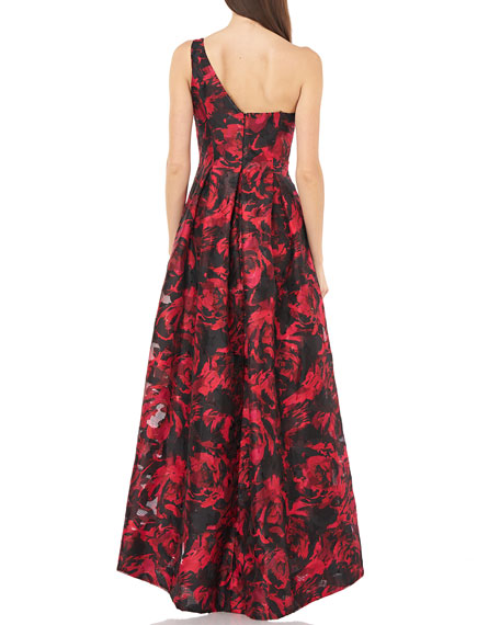 Carmen Marc Valvo Infusion Sweetheart One-Shoulder Printed Gown w/ Bow Detail