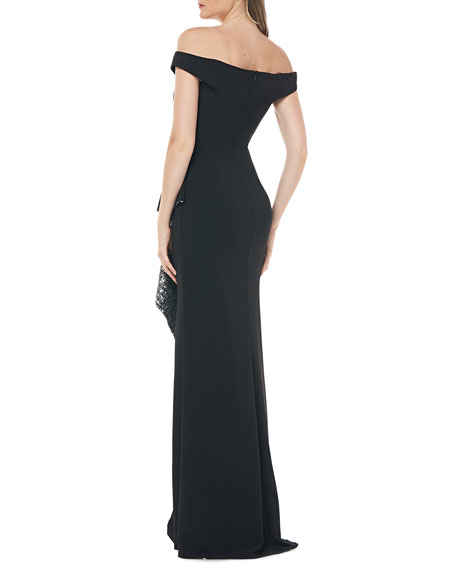 Image 2 of 2: Carmen Marc Valvo Infusion Off-the-Shoulder Crepe Gown w/ Metallic Sequin Lined Side Ruffle