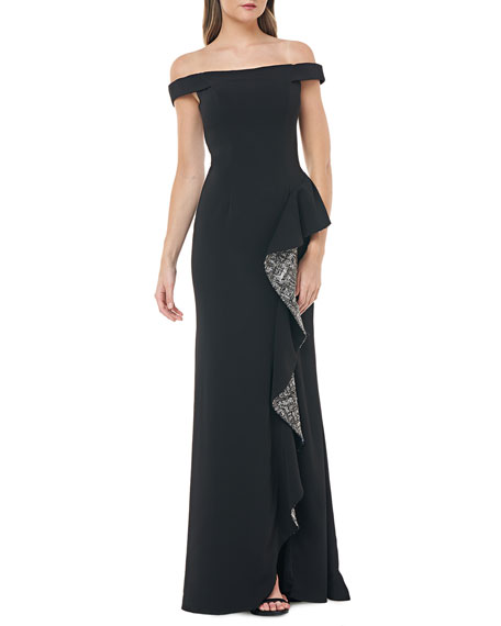 Image 1 of 2: Carmen Marc Valvo Infusion Off-the-Shoulder Crepe Gown w/ Metallic Sequin Lined Side Ruffle