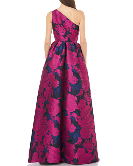 Carmen Marc Valvo Infusion One-Shoulder Brocade Ball Gown