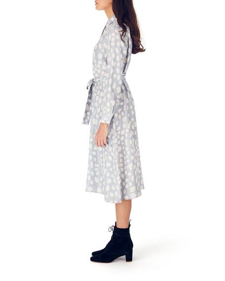 Whit Dada Printed Long-Sleeve Midi Silk Shirtdress