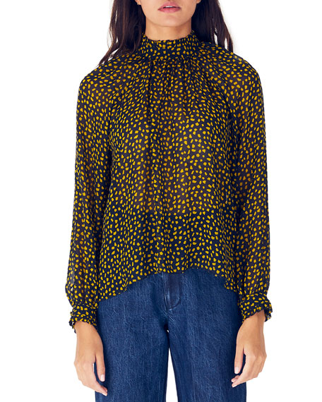 Image 1 of 3: Whit Harper Printed Mock-Neck Long-Sleeve Silk Blouse