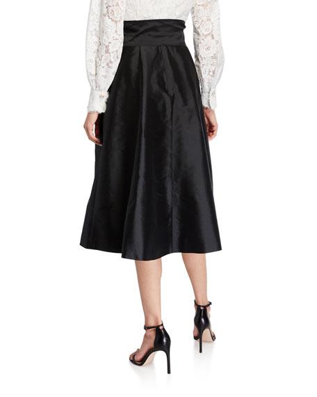 Rickie Freeman for Teri Jon Lace-Bodice Long-Sleeve Dress w/ Taffeta Skirt