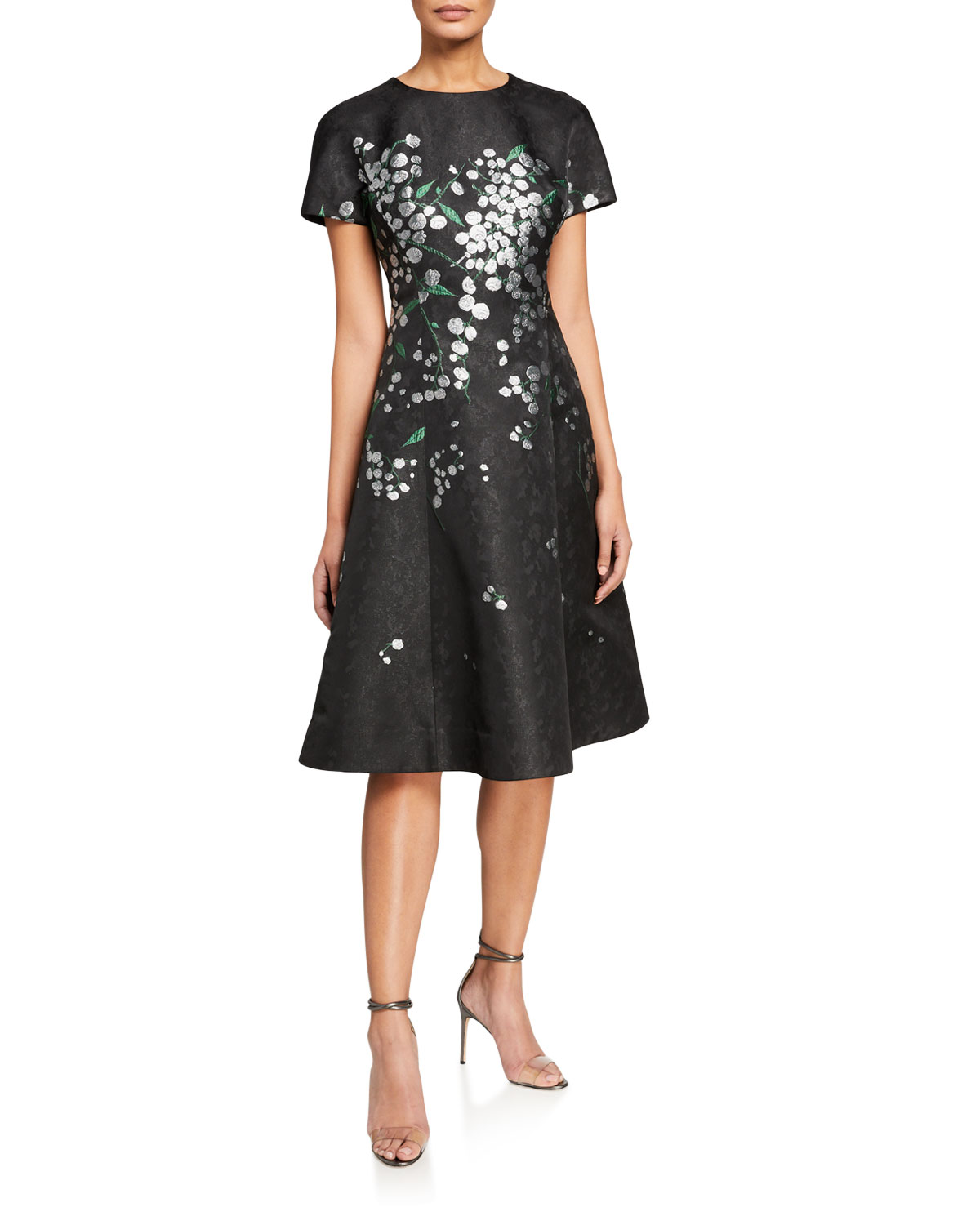 Rickie Freeman for Teri Jon Metallic Floral Embroidered Short-Sleeve A-Line Dress