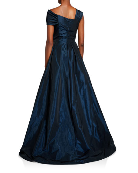 Rickie Freeman for Teri Jon One-Shoulder Jewel Embellished Taffeta Ball Gown