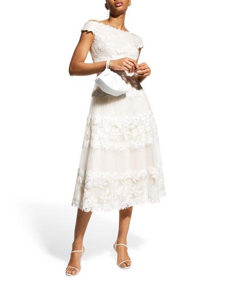 Tadashi Shoji Off-the-Shoulder Cap-Sleeve Lace Midi Dress