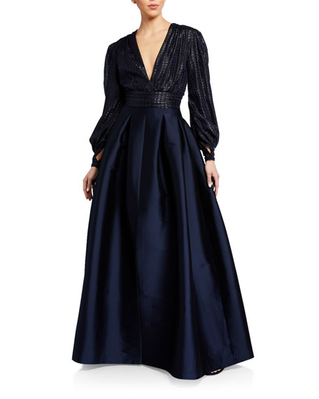 Image 1 of 3: Sachin & Babi Lauren V-Neck Cuffed Long-Sleeve Gown