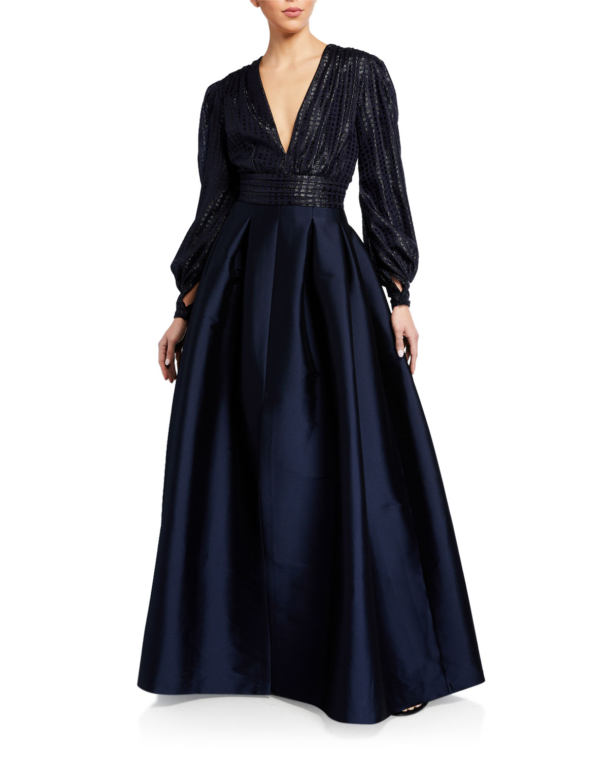 Sachin & Babi Lauren V-Neck Cuffed Long-Sleeve Gown