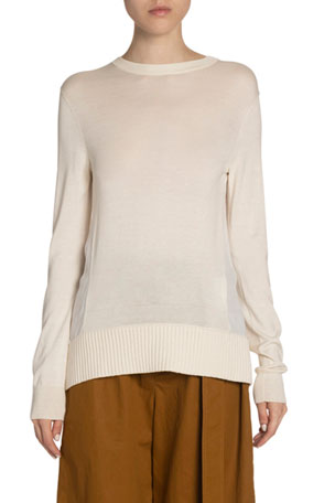 Proenza Schouler White Label Woven Combo Knit Sweater