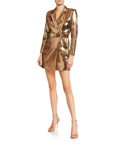 Joan Sequined Belted Cocktail Dress