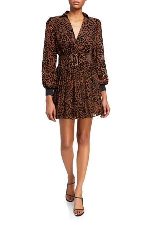Retrofete Layla Leopard-Print Belted Dress