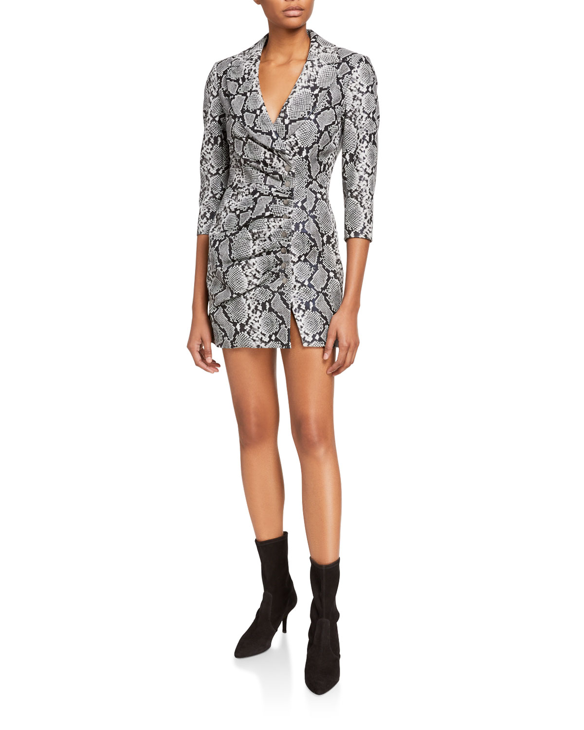 Retrofete Willa Collared Leather Snap-Front Dress in Silver Snakeskin