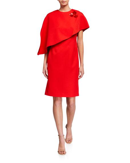Rickie Freeman for Teri Jon Crepe Asymmetrical Capelet Dress with Pins