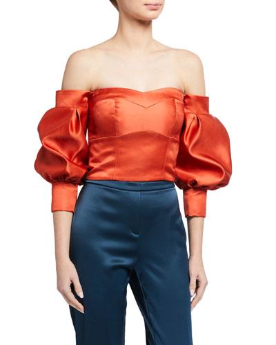 Desire Duchess Satin Off-the-Shoulder Balloon-Sleeve Crop Top