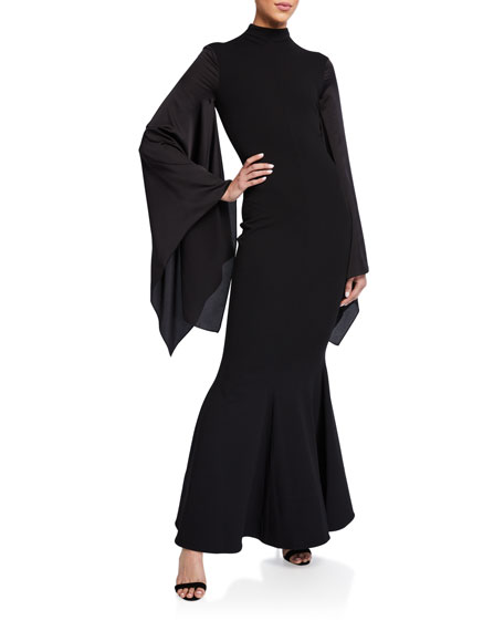 Solace London Fleur Asymmetrical-Sleeve Maxi Dress