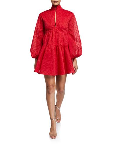 Dignity High-Neck Blouson-Sleeve Dress