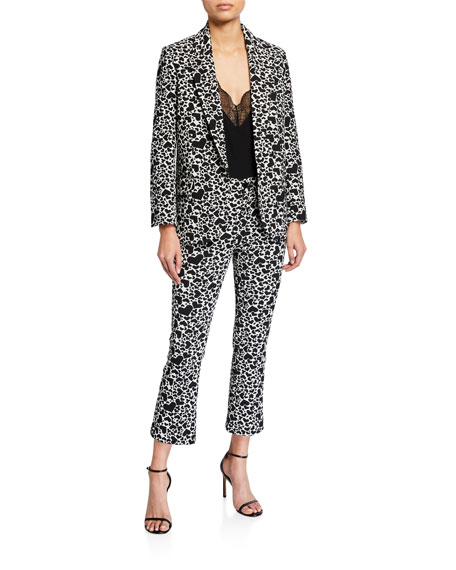 Image 3 of 3: Zadig & Voltaire Heart-Print Boot-Cut Cropped Pants