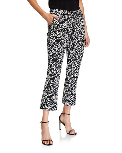 Heart-Print Boot-Cut Cropped Pants