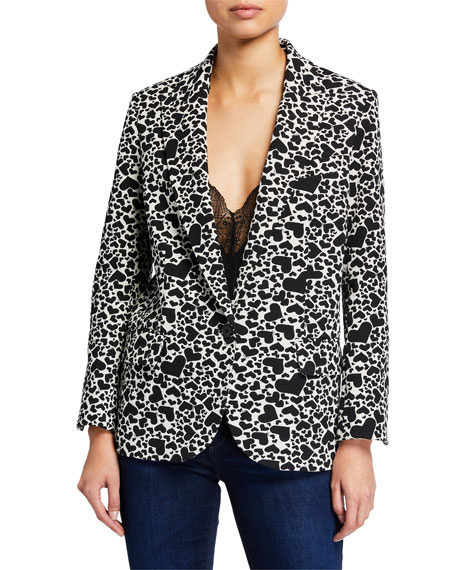 Image 2 of 3: Zadig & Voltaire Viking Heart-Print Single-Button Jacket