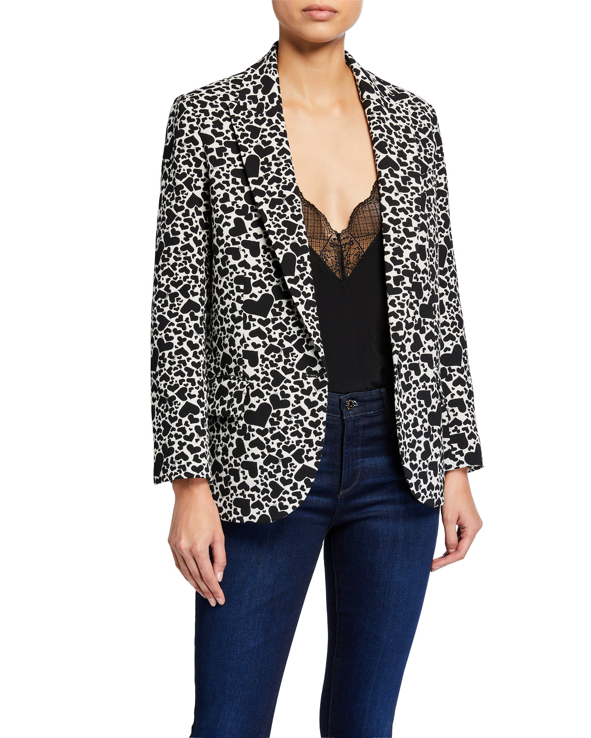 Zadig & Voltaire Viking Heart-Print Single-Button Jacket