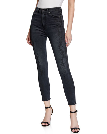7 For All Mankind Aubrey Snake-Print Skinny Jeans