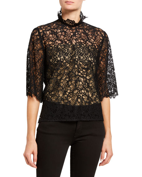 7 For All Mankind High-Neck Lace Short-Sleeve Top