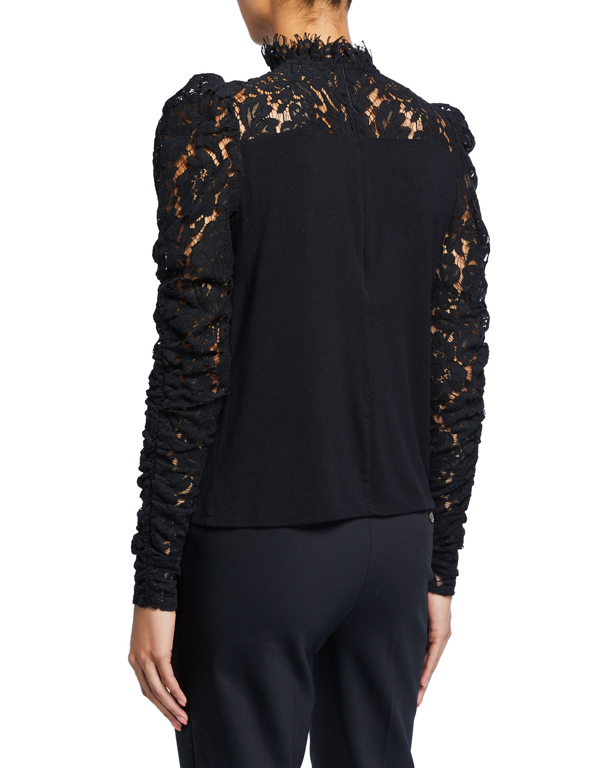 Tamra High Neck Lace Long Sleeve Top by Generation Love