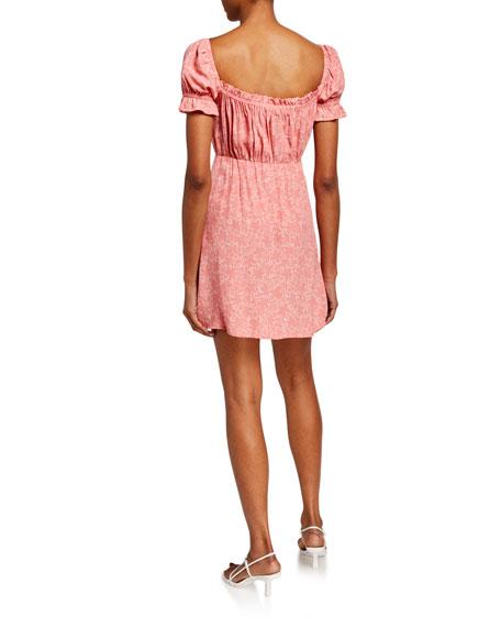Faithfull the Brand Laura Printed Mini Dress w/ Buttons