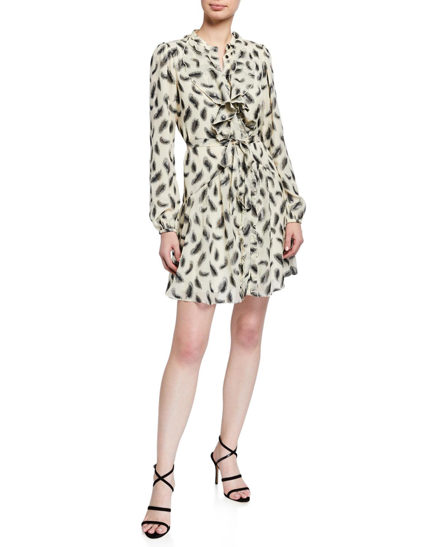 Saloni Tilly Long-Sleeve Floral Silk Mini Dress