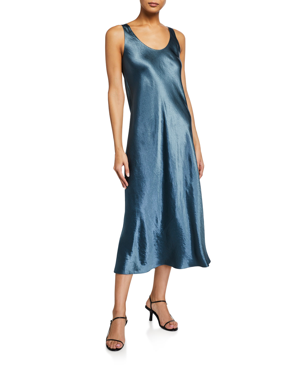 Vince Scoop-Neck Satin Tank Dress