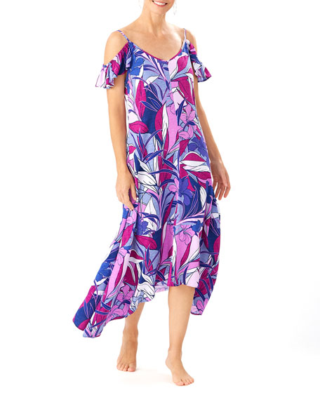 Tommy Bahama Botanical-Print Flutter-Sleeve Coverup Dress