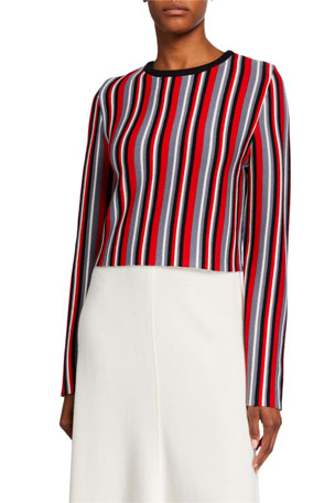 Victor Glemaud Cropped Vertical Stripe Sweater