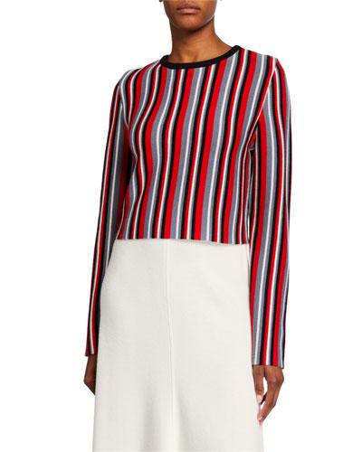 Cropped Vertical Stripe Sweater