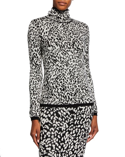 Animal-Print Intarsia Wool Sweater
