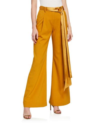 Luxe Wool Wide-Leg Belted Pants