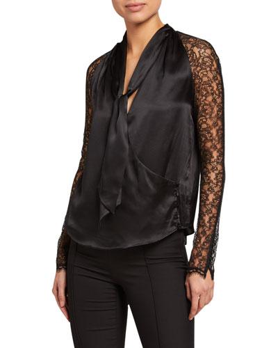 Silk Lace Long-Sleeve Wrap Top