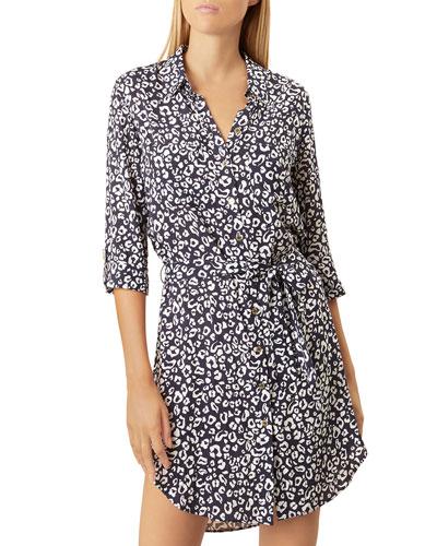 Relaxed Leopard-Print Shirtdress