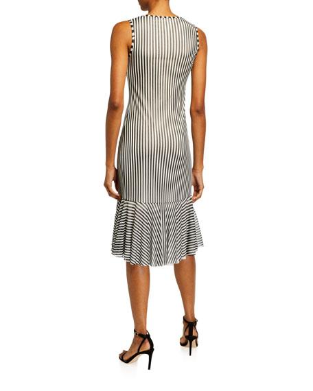 Fuzzi Striped Sleeveless Gathered-Front Dress