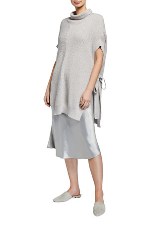 Max Mara Leisure Ribbed Mock-Neck Sweater with Split Tie Side