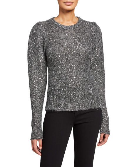 Sequined Puff Sleeve Sweater by Frame