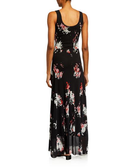 Fuzzi Aquarello Small Floral Maxi Dress