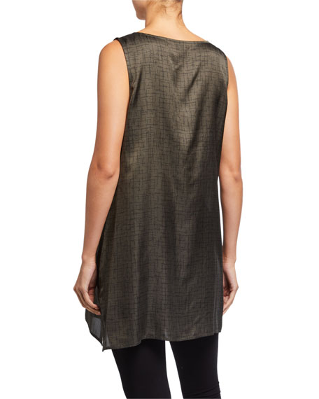 Image 2 of 2: Eileen Fisher Crossroad Print Silk/Organic Cotton Long Tank