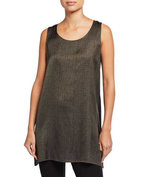 Image 1 of 2: Eileen Fisher Crossroad Print Silk/Organic Cotton Long Tank