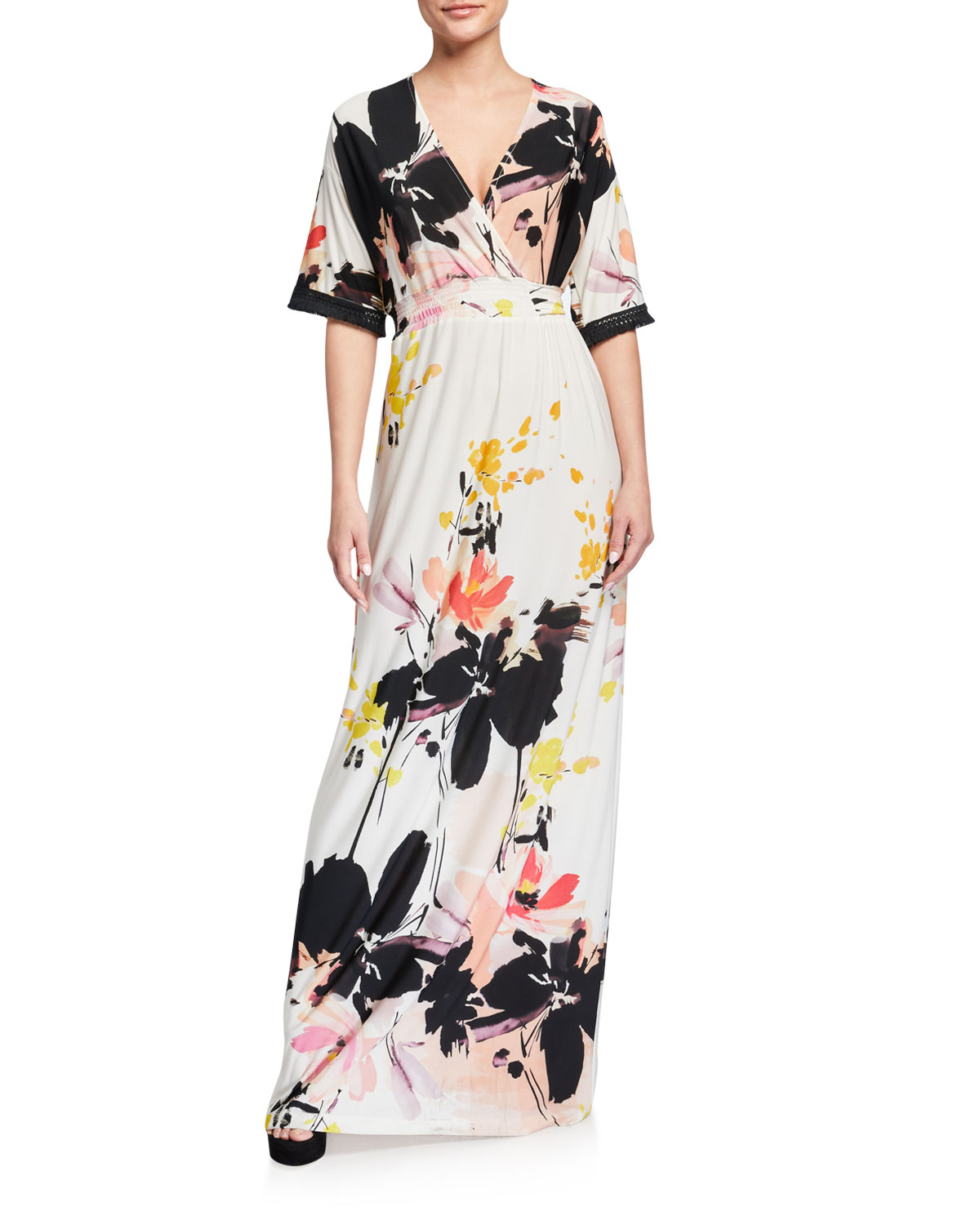 Melissa Masse Obi Abstract Luxe Jersey Maxi Dress