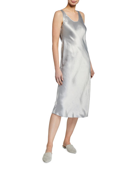 Max Mara Leisure Satin Scoop-Neck Midi Dress