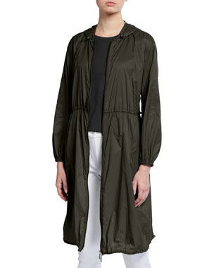 Max Mara Leisure Hooded Ultra Lite Long Raincoat