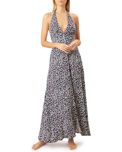 Leopard-Print Halter Coverup Maxi Dress