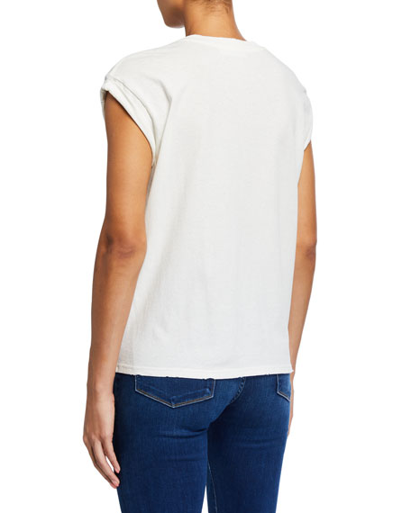FRAME Slouchy Roll-Sleeve Graphic Tee